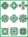 Celtic endless decorative knots selection in black and green cross stitch pattern inspired by Irish St Patrick`s day