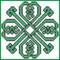 Celtic endless knot in clover with hearts elements in tile shape in black and green cross stitch pattern