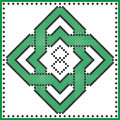 Celtic endless knot in rosette shape in black and green cross stitch pattern on white and black background inspired by St patrick