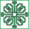 Celtic endless knot in square lover with hearts elements in tile shape in black and green cross stitch