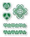 Celtic green heart knot symbols set embroidery and clover traditional patterns isolated on white Royalty Free Stock Images
