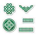 Celtic green knots, braids and patterns -  Stock Photos