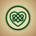 Celtic heart knot symbol of love vector illustration green with slight grunge texture Royalty Free Stock Images