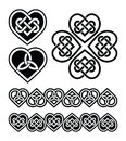 Celtic heart knot symbols set od traditional knots braids in black and white Stock Photos