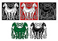 Celtic horses with decorative elements and patterns Royalty Free Stock Photography