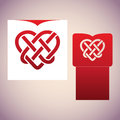 Celtic knot in the form of heart. Laser cutting template.