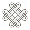 Celtic knot geometric ancient cross tribal vector knotted logo illustration. Knot work gaelic tattoo knotty ornament