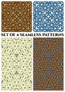 Celtic knot seamless patterns of blue, white, green, brown, and beige shades