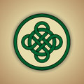 Celtic knot symbol of luck vector illustration green with slight grunge texture Stock Photos