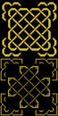 Celtic knots with borders old gold on black two in Royalty Free Stock Images