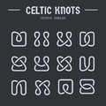 Celtic knots inspired vector logos collection. Irish pattern, ornament, simple elements on dark background