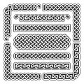 Celtic knots vector medieval seamless borders, patterns, and ornament corners. Pattern brushes set Royalty Free Stock Photo