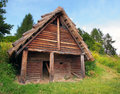 A celtic log house havranok slovakia summer view of one room in the archaeoskansen liptov region northern the is Royalty Free Stock Photography