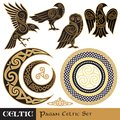 Celtic Magic set. Celtic horned Moon and Sun, Celtic Owl, Celtic Raven