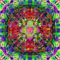 CELTIC MANDALA, WITH PINK CENTER, TEXTURE IN RED, PURPLE GREEN LIGHT GREEN WEAVING SHAPES