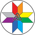 Celtic native knot on top of micmac symbol in rainbow colors in circle Royalty Free Stock Image