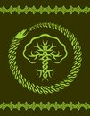 Celtic pattern with tree and snake