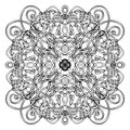 Celtic pattern, vector wicker ornament, hand drawing decorative element. Black and white wicker weave on a white