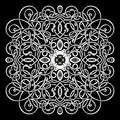 Celtic pattern, vector wicker ornament, hand drawing decorative element. White wicker weave on a black background for