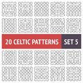 Celtic patterns set of black and white seamless with samples in swatches Stock Images