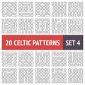 Celtic patterns set of black and white seamless with samples in swatches Royalty Free Stock Photo