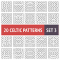 Celtic patterns set of black and white seamless with samples in swatches Stock Photo