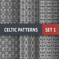 Celtic patterns set of black and white seamless with samples in swatches Stock Photos
