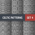 Celtic patterns set of black and white seamless with samples in swatches Royalty Free Stock Photography