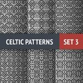 Celtic patterns set of black and white seamless with samples in swatches Stock Image