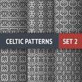 Celtic patterns set of black and white seamless with samples in swatches Royalty Free Stock Images