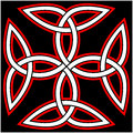 Celtic quaternary knot isolated on black background Royalty Free Stock Photography