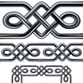 Celtic rope seamless border design with corner ele Stock Photo