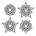 Celtic star knots or abstract geometry design elements on white background. Vector
