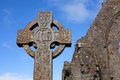 Celtic stone cross and athenry dominican friary detail found at Stock Photography