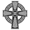 Celtic style Cross with endless knots patterns in white and black with stroke elements inspired by Irish St Patrick`s Day