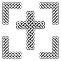 Celtic style endless curved  knot  cross symbols in white and black in knotted frame  inspired by Irish St Patrick`s Day, and Iris Royalty Free Stock Photo