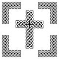 Celtic style endless knot cross symbols in white and black, with black filling between knots, in knotted frame
