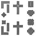 Celtic style endless knot symbols including border, line, heart, cross, curvy squares in black on white background inspired by Ir