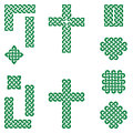 Celtic style endless knot symbols including border, line, heart, cross, curvy squares in irish flag green on white background