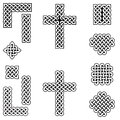 Celtic style endless knot symbols including border, line, heart, cross, curvy squares in white, with black filling between knots Royalty Free Stock Photo