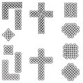 Celtic style endless knot symbols including border, line, heart, cross, curvy squares in  in white with black stroke inspired by I Royalty Free Stock Photo