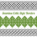 3 Celtic style knot seamless borders, vector illustration