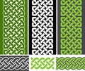 3 Celtic style knotted seamless borders and 3 braid seamless border variations, vector illustration