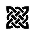 Celtic style square shape element based on eternity knot patterns in black on white background inspired by Irish St Patrick`s Day