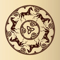 Celtic symbol of horses ancient in circle Royalty Free Stock Photos