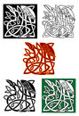 Celtic totems with birds heron and ornamental elements for medieval culture or religion design Stock Photos
