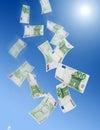 Cem euro- quedas das notas de banco Foto de Stock