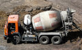 Cement mixer truck Stock Images