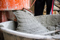 Cement or mortar is inside cement mixer cement or mortar is mix Stock Photos