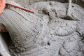 Cement or mortar is inside cement mixer cement or mortar is mix Royalty Free Stock Image